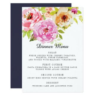 Carte Menu floral de dîner de mariage d'Adeline