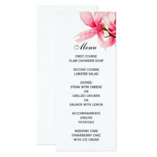 Carte Menu floral de mariage de magnolia rose romantique