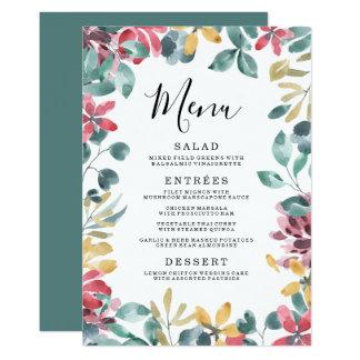 Carte Menu floral élégant de mariage de cadre des fleurs
