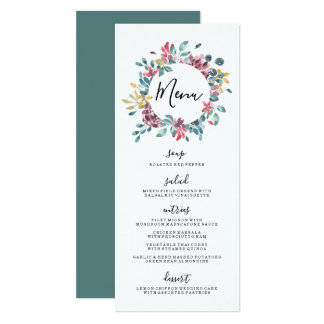 Carte Menu floral élégant de mariage de guirlande des