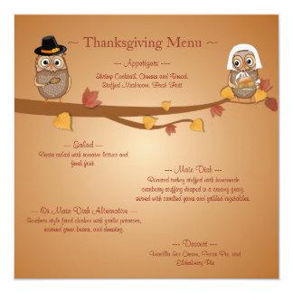 Carte Menu lunatique de thanksgiving de hiboux de
