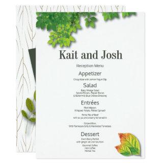 Carte Menu minimaliste de réception de mariage de chêne