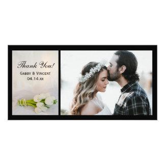 Carte Merci blanc de mariage de ressort de bouquet de