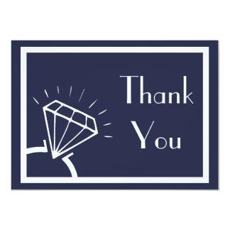 Carte Merci de silhouette de bague à diamant (bleu de