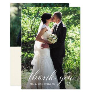 Carte Merci élégant de photo de mariage d'écriture