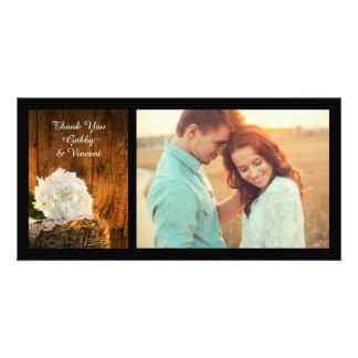 Carte Merci en bois d'hortensia blanc et de mariage de