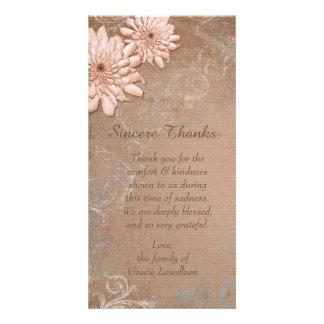 Carte Merci floral bronzage de sympathie d'Ecru