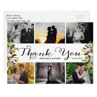 Carte Merci floral de mariage de collage de photo