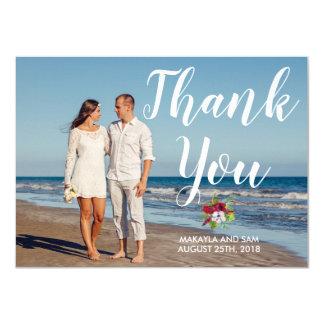 Carte Merci floral tropical de mariage d'île de ketmie