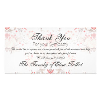 Carte Merci floral vintage P de sympathie de damassé de