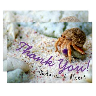 Carte Merci mignon de mariage de plage de crabe de sable