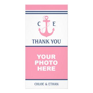 Carte Merci nautique de photo d'ancre rose de coeur