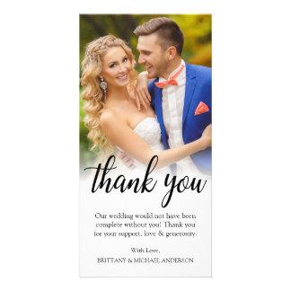 Carte Merci noir de marié de jeune mariée de photo de