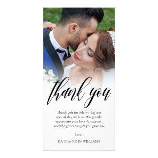 Carte Merci noir de photo de mariage de recouvrement de