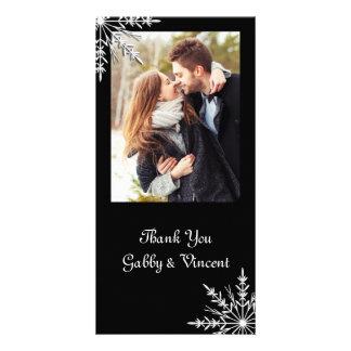 Carte Merci noir et blanc de mariage d'hiver de flocon