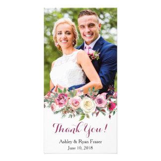 Carte Merci rose rose pourpre de mariage de Boho