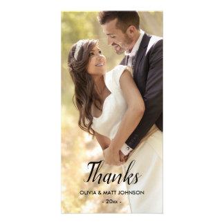 Carte Mercis élégants de mariage - pleine photo
