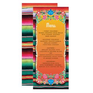 Carte mexicaine de menu de mariage de fiesta