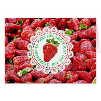 Carte mignonne d'amitié de fraise