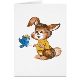 Carte mignonne d'anniversaire de enfant de lapin