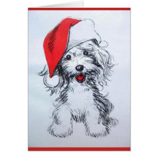 Carte mignonne de croquis de Père Noël de chiot