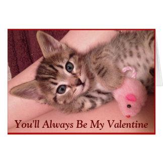 Carte mignonne de Saint-Valentin de chaton