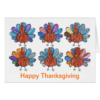 Carte mignonne de thanksgiving d'art d'enfants de