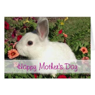 Carte mignonne heureuse de lapin du jour de mère