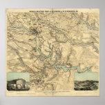Carte militaire de Hughes de Richmond et de Peters Affiches