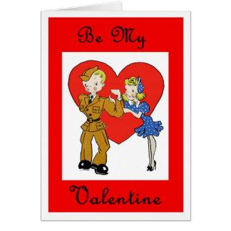 Carte militaire de Valentine de soldat et de fille