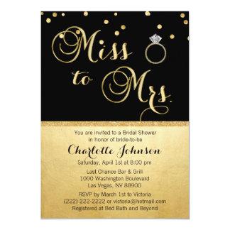 Carte Mlle élégante de noir d'or à Mme Bridal Shower