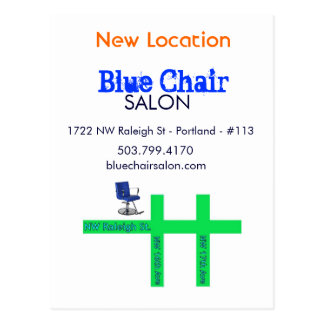 Carte mobile de chaise bleue