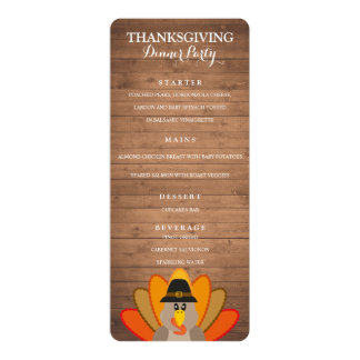 Carte Modèle de menu de dîner de thanksgiving