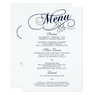 Carte Modèles élégants de menu de mariage de bleu marine