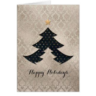 Carte moderne d'arbre de Noël de damassé de perle