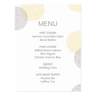 Carte moderne de menu de mariage de cercle de carte postale