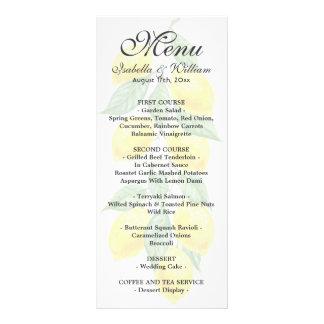 Carte moderne de menu de mariage d'été de citron