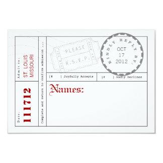 Carte moderne de réponse d'étiquette de billet carton d'invitation 8,89 cm x 12,70 cm