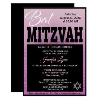 Carte Moderne rose et noir de bat mitzvah