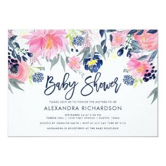 Carte Moderne rougissent et le baby shower floral de