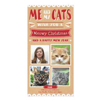 Carte Moi et mon Noël 4x8 Photocard (4 images) de chats