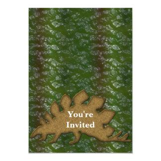 Carte Monogramme de vert et de peau de dinosaure de