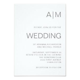 Carte Monogramme gris chic minimaliste du mariage |