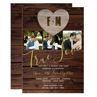 Monogramme rustique de photo d'invitations de