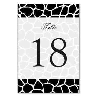 Carte Motif animal d'impression noir et blanc de girafe