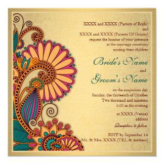 Carte Motif coloré de Paisley sur le mariage indien d'or