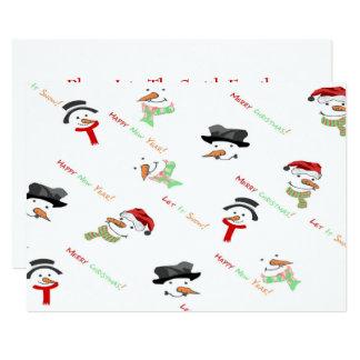 Carte Motif lunatique de bonhomme de neige de Noël