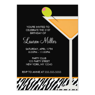 Carte Motif orange de Martini et de zèbre