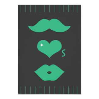 Carte Moustache verte épousant RSVP