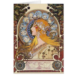 Carte : Mucha - zodiaque - plume de La